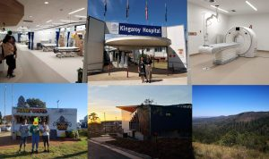 Collage of student on the wards at Kingaroy Hospital, the CT scanner, the Kingaroy Peanut Van and the Bunya Mountains
